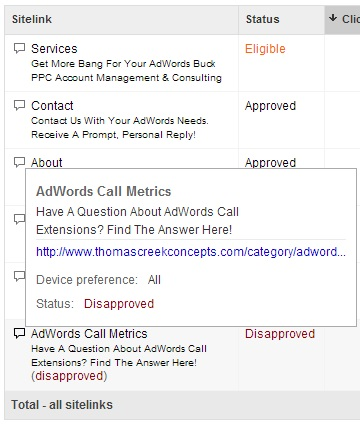 Disapproved enhanced sitelinks